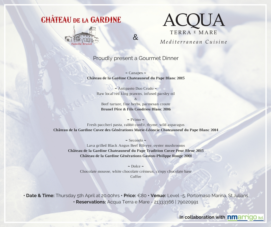 Chateau de la Gardine - Wine Dinner