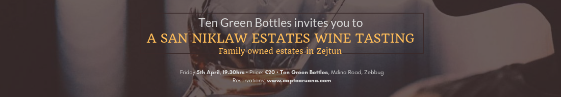 San Niklaw tasting locally produced wines- 5th April