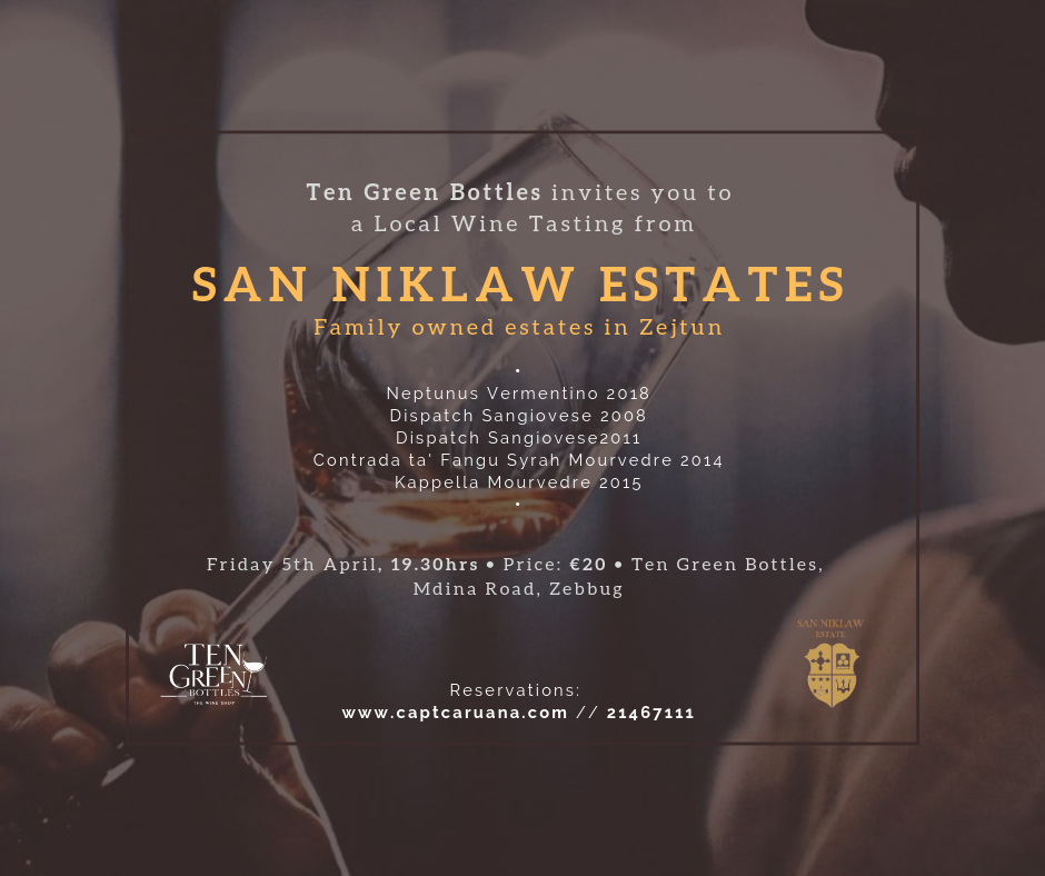 San Niklaw tasting locally produced 5th April